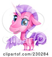 Royalty Free RF Clipart Illustration Of A Cute Pink Unicorn Looking Back by BNP Design Studio