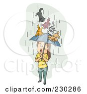 Royalty Free RF Clipart Illustration Of Cats And Dogs Raining Down On A Woman Over Gray