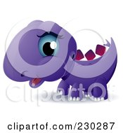 Royalty Free RF Clipart Illustration Of A Cute Purple Baby Stegosaurus by BNP Design Studio
