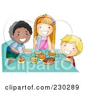 Royalty Free RF Clipart Illustration Of Diverse Kids Making Cupcakes by BNP Design Studio