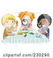 Royalty Free RF Clipart Illustration Of Diverse School Kids Inspecting Leaves