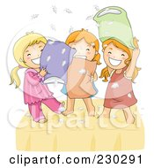 Royalty Free RF Clipart Illustration Of Happy Girls Having A Pillow Fight