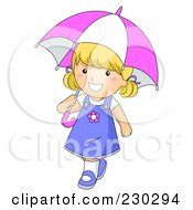 Royalty Free RF Clipart Illustration Of A Happy Girl Walking And Carrying An Umbrella