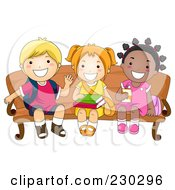 Royalty Free RF Clipart Illustration Of Diverse School Kids Waiting On A Bench