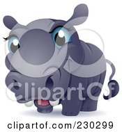 Royalty Free RF Clipart Illustration Of A Cute Blue Eyed Baby Hippo by BNP Design Studio