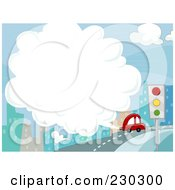 Royalty Free RF Clipart Illustration Of A Car Exhaust In The City Background by BNP Design Studio