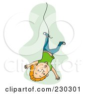 Royalty Free RF Clipart Illustration Of A Man Falling With A String Tied To His Foot On Green