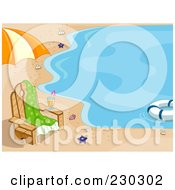 Royalty Free RF Clipart Illustration Of A Background Of A Chair On A Beach
