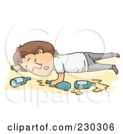 Royalty Free RF Clipart Illustration Of A Drunk Mann Passed Out On Yellow by BNP Design Studio