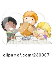 Royalty Free RF Clipart Illustration Of Diverse School Kids Studying A Globe
