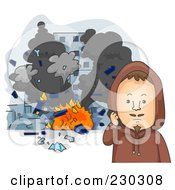 Royalty Free RF Clipart Illustration Of A Terrorist By Exploding Buildings On Gray by BNP Design Studio