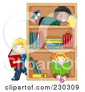 Royalty Free RF Clipart Illustration Of Diverse School Kids Reading Books By A Shelf