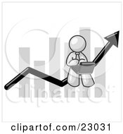 Clipart Illustration Of A White Man Using A Laptop Computer Riding The Increasing Arrow Line On A Business Chart Graph