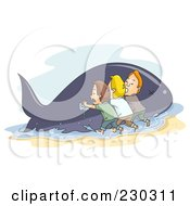 Royalty Free RF Clipart Illustration Of A Team Of Men Trying To Save A Beached Whale by BNP Design Studio