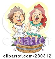 Royalty Free RF Clipart Illustration Of Two Women Stomping Grapes Over Yellow
