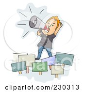 Royalty Free RF Clipart Illustration Of An Angry Man Rallying Over Blue