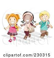 Diverse School Kids Crossing A Street