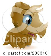 Royalty Free RF Clip Art Illustration Of A Cute Baby Triceratops Dino by BNP Design Studio