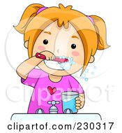Royalty Free RF Clipart Illustration Of A Happy Girl Brushing Her Teeth