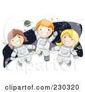 Royalty Free RF Clipart Illustration Of Children Astronauts by BNP Design Studio