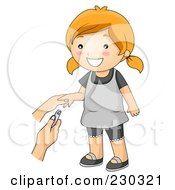 Royalty Free RF Clipart Illustration Of A Happy Girl Getting Her Nails Trimmed by BNP Design Studio