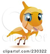 Royalty Free RF Clipart Illustration Of A Cute Baby Pterodactyl Flying