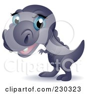 Royalty Free RF Clipart Illustration Of A Cute Blue Eyed Baby T Rex