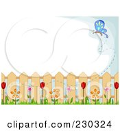 Royalty Free RF Clipart Illustration Of A Butterfly And Spring Garden Background