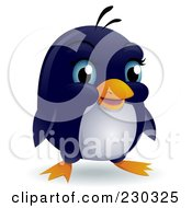 Royalty Free RF Clipart Illustration Of A Cute Blue Eyed Baby Penguin by BNP Design Studio