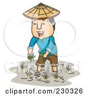 Royalty Free RF Clipart Illustration Of A Sweaty Farmer Working In A Rice Paddy