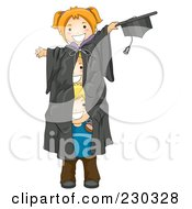 Royalty Free RF Clipart Illustration Of Three Kids In A Giant Graduation Gown
