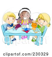 Royalty Free RF Clipart Illustration Of Diverse School Kids Cutting Paper In Art Class