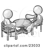 Clipart Illustration Of Two White Business Men Sitting Across From Eachother At A Table During A Meeting