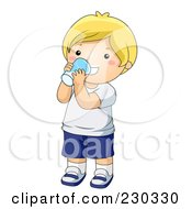 Royalty Free RF Clipart Illustration Of A Happy Blond Boy Drinking A Glass Of Milk by BNP Design Studio