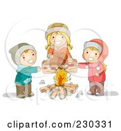 Royalty Free RF Clipart Illustration Of Children Roasting Over A Campfire