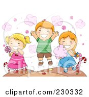 Royalty Free RF Clipart Illustration Of Children Eating Candy