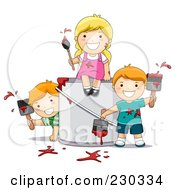 Royalty Free RF Clipart Illustration Of Children Painting by BNP Design Studio