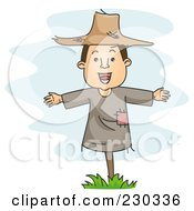 Royalty Free RF Clipart Illustration Of A Scarecrow Man Over Blue by BNP Design Studio