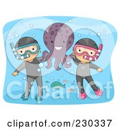 Royalty Free RF Clipart Illustration Of Children Snorkeling With An Octopus