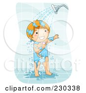 Royalty Free RF Clipart Illustration Of A Happy Boy Showering