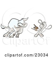 Clipart Illustration Of A White Man Holding A Stool And Whip While Taming A Bull Bull Market by Leo Blanchette