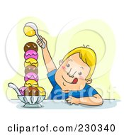 Royalty Free RF Clipart Illustration Of A Man Making A Huge Ice Cream Sundae On Yellow by BNP Design Studio