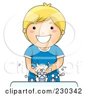Royalty Free RF Clipart Illustration Of A Happy Blond Boy Washing His Hands by BNP Design Studio