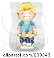 Royalty Free RF Clipart Illustration Of A Happy Blond Boy Using The Toilet by BNP Design Studio
