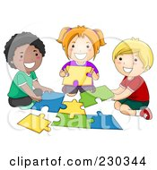 Poster, Art Print Of Diverse School Kids Assembling A Puzzle