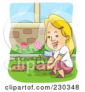 Royalty Free RF Clipart Illustration Of A Blond Woman Gardening
