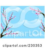 Royalty Free RF Clipart Illustration Of A Cherry Blossom Tree Branch And Blue Sky Background by BNP Design Studio