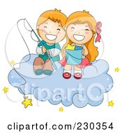 Royalty Free RF Clipart Illustration Of Children Fishing For Stars On A Cloud by BNP Design Studio