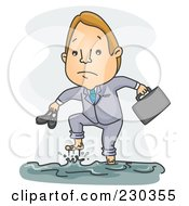 Businessman Walking In A Flood On Gray