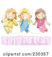 Royalty Free RF Clipart Illustration Of Happy Girls Jumping On A Bed
